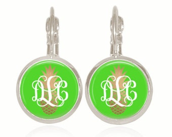 Monogram Earrings, Glass Dome, Drop Style, Green, Gold Pineapple, Personalized Gift (Pineapple on Green - Drop Style Earrings)