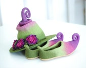 Adorable witch hat with flowers and shoes with curlytoes with soles for outside wearing. Fantasy costume- CUSTOM MADE set in custom colors