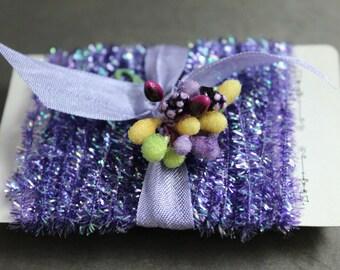 NEW! Metallic Purple Tinsel Trim - Halloween Tinsel String Card -  12 Feet Gift Wrap Packaging Trim - Little Girl Purple Birthday