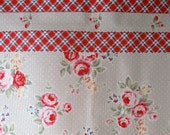 Lecien Noisette Lane maison Polka Dots and Plaid Oxford Cloth in Beige/Red - 1/2 meter