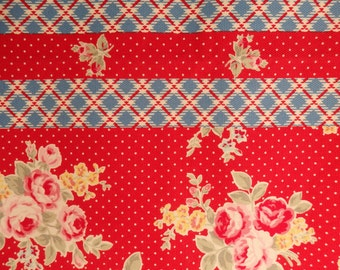 Lecien Red Rose Fabric, Noisette Lane Maison Polka Dots and Plaid Oxford Cloth in Red/Blue - 1/2 meter remnant