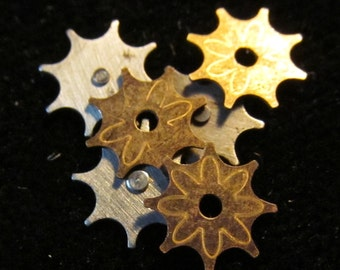 Balance cock accents tiny Stars silver and gold toned Steampunk Charms CS 82