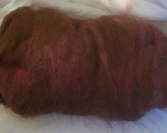 Alpaca Wool Blend Batt Spinning Fiber Rusty Brown Rose 2.8 ounces B003