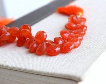 Carnelian Gemstone Briolette Rust Dark Orange Faceted Heart 10mm 20 beads