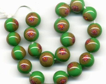 Vintage Japanese Millefiori Beads 8mm Green w/ Colorful Cane 20 Pcs.