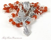 Mysteries Miraculous Medal Rosary Beads Carnelian Pardon Crucifix Burnt Orange Wire Wrapped Unbreakable Handmade by Holy Name Rosaries