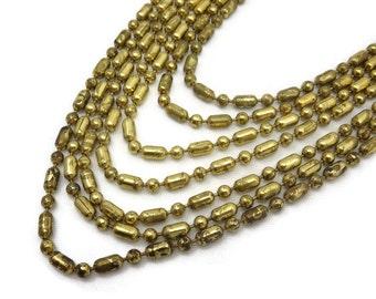 Gold Bead Chain Necklace - Multi Chain, Multi Strand Necklace, Costume Jewelry