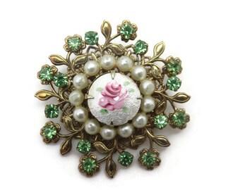 Costume Jewelry - Rhinestone Brooch, Guilloche Enamel, Pink Rose, Green Rhinestones, Faux Pearls, Filigree, Leaves