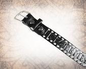 Norse Runes Belt - Black Riveted - Black Leather Belt, Leather Belt, Mens Leather Belt, Women's Leather Belt, Genuine Leather Belt, Belt