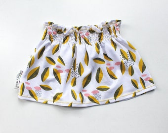 SALE: Pretty summer leaves shirred jersey skirt