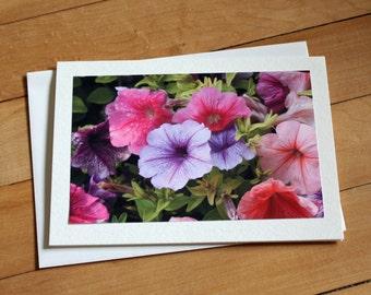 Handmade Greeting Card with Petunias