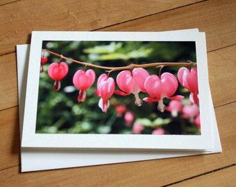 Handmade Greeting Card with Bleeding Hearts