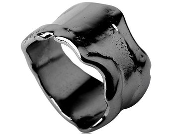 Black Silver Raw Wedding Ring, Oxidized Wedding Band , Wide Oxidized Silver Band, Handmade Sterling Silver Wedding Ring, Urban Wedding Ring