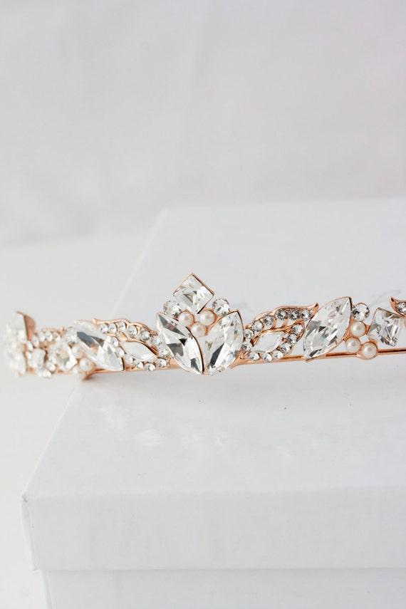 Rose Gold Bridal Tiara Small Wedding Tiara Swarovski Crystal