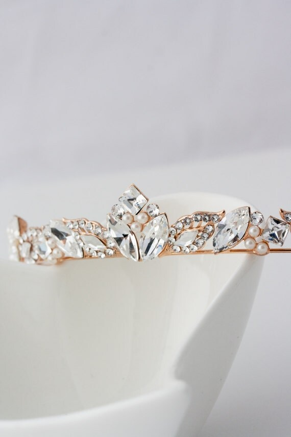 Rose Gold Bridal Tiara Small Wedding Tiara Swarovski Crystal