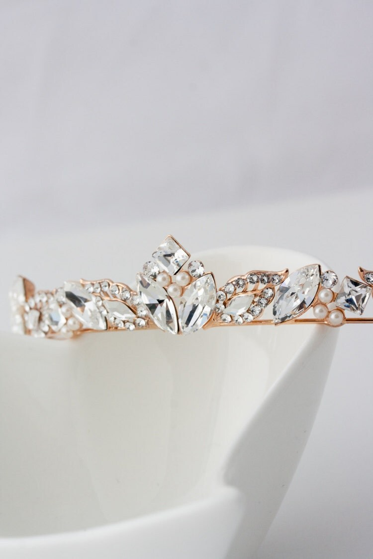 Rose Gold Bridal Tiara Small Wedding Tiara By Lulusplendor