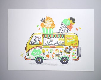 Ice Cream Van - A3 Original limited edition silk screen print