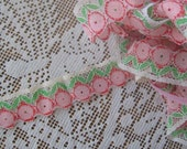 Vintage 1960s Lace Sewing Trim Floral Ribbon Pink Flowers 3 Yards