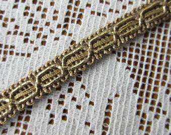 Italy 1 Yard Vintage Gold Metallic Fabric Sewing Trim  FL-29