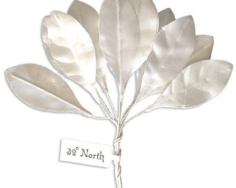 Millinery Leaves Czech Republic 10 Fabric White Leaves  NLC-121W