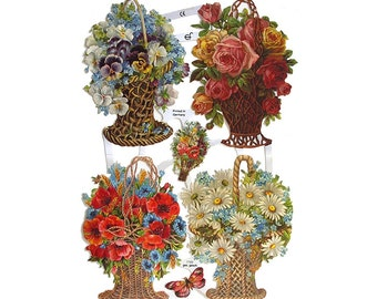 Made In Germany Lithographed  Die Cut Paper Scraps Victorian Flower Baskets  7183