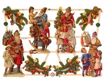 Germany Paper Scraps Lithographed Die Cut Victorian Santa Claus Christmas  7385