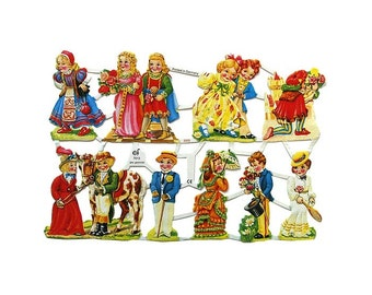 Germany Paper Scraps Die Cut Lithograph Images Of Children  7013