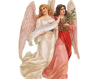 Germany Large Lithographed Die Cut Paper Scrap Victorian Angels  5025