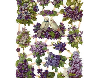 Germany Paper Scraps Lithographed Die Cut Victorian Birds Violets And Lilacs  7367