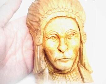 Native American Sculpture, Vintage Folk Art Wood Carving