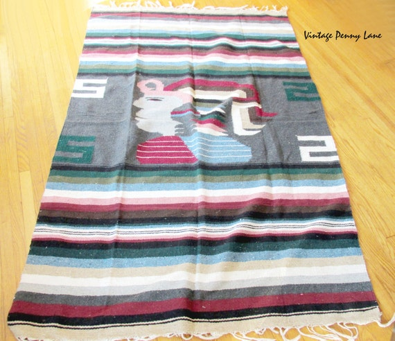 Vintage Mexican / Mayan Throw Blanket Sarape / By