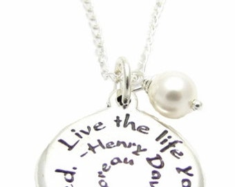 """Inspirational Gift, """"Live The Life You've Dreamed"""", Sterling Silver Quote Charm, Swarovski Pearl, Necklace 18"""" or 24"""""""