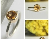 FREE Shipping Citrine Ring 14k Yellow Gold Bezel Set Solitaire Ring Gemstone Ring Stacking Ring