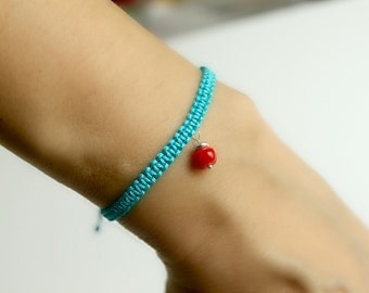 Red Coral Friendship Bracelet Turquoise Macrame Knot