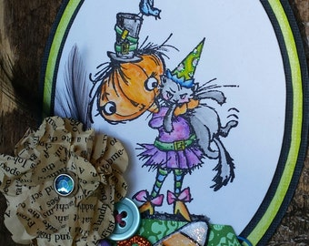 Halloween Pumpkin Witch w Black Cat Scrapbook Paper Piecing Card Topper