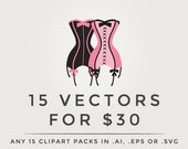 Vector clipart - .eps or .ai digital clip art pack any fifteen 15 clipart sets packs in vector format digital designs vectorized discount