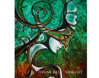 "Archival Fine Art Print entitled ""Masque""  by artist Tienne Rei, without Matting"