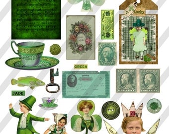 Digital Collage Sheet, Pretty in Irish Green Images (Sheet no. O242) Instant Download, PNG Included