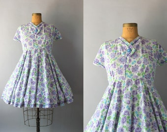 1960s Dress / Vintage 60s Circle Skirt Dress / 60s Floral Cotton Dress