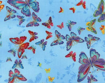 Butterflies Sky Tiffany Timeless Treasures Fabric 1 yard