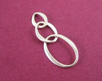 Mini Sterling Silver Oval Ring Link 3 Ring Connector Flattened Link Modern Jewelry Supply 2 pcs