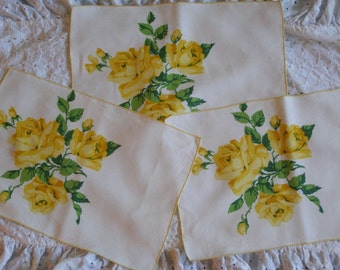 Set of 3 Vintage Placemats ~ Yellow Roses