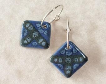 Porcelain Earrings in Blues
