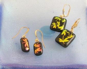 Pink OR Gold Dragonfly earrings - dichroic glass earrings - lightweight dangle earrings - clip or wire earrings (4209)