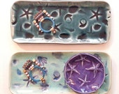 One Decorative nautical platter: HM Tray ocean gift beachy tide pool his hers dresser  tray shells starfish designer day at the beach dreams