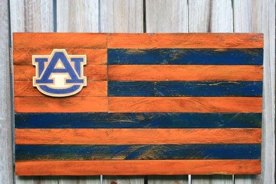 Auburn Tigers Wooden Team Flag Auburn University Wall Decor