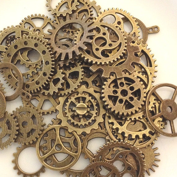 Is Steampunk Jewelry A Craft Or An Art: SteamPunk Gears Antique Bronze Steam Punk 50 Gears / Jewelry