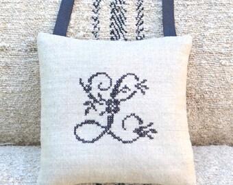 Monogram Antique Linen Heart Sachet - Letter L