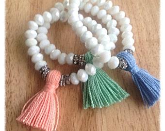 Tassel bracelet| beaded bracelet| white bracelet for women| boho jewelry| birthday gift for| layering bracelet| stackable bracelet | stretch