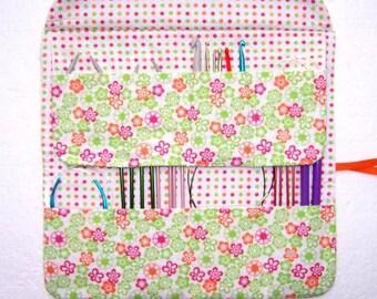 Pink Green Circular Knitting Needle Case, Orange Polka Dot Crochet Hook Holder, Pastel Floral Double Pointed Needle DPN Storage Organizer